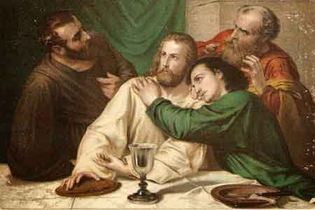 image of the Apostle John resting his head on Jesus