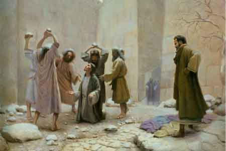image of a man being stoned for his faith