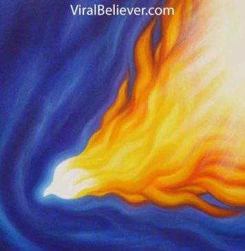 image of a flaming dove descending symbolizing the Holy Spirit