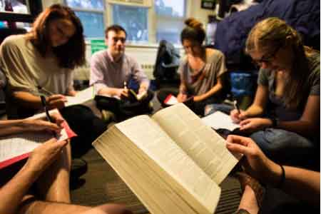 image of a small group having a Bible study