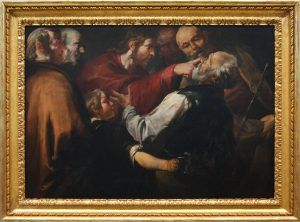 Image of the blind man being healed in the Bible