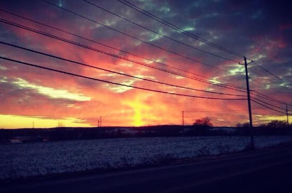 A sunlight cross appeared on the horizon in Pine Valley, New York on Jan. 8.